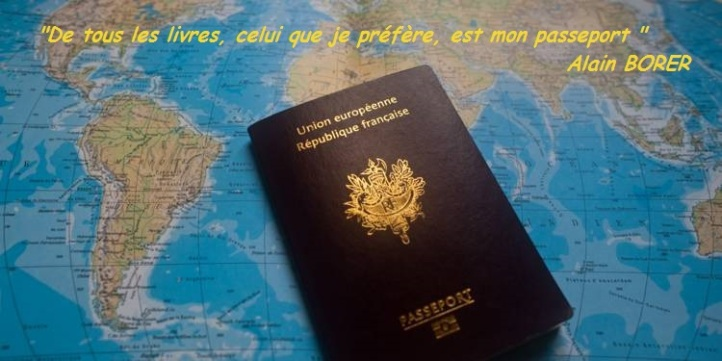 Carte du monde - passeport - citation - Alain Borer