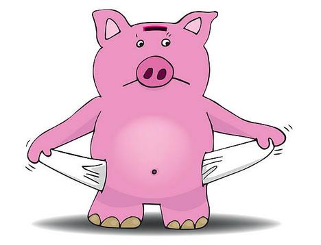 Cochon tirelire poche vide !